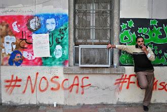 Photo: Anti-SCAF graffiti outside the 'Mugama' government building.