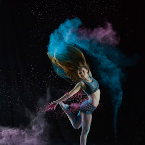 Nina In Pink & Blue by William Kendzierski - People Portraits of Women ( high speed photography, modeling, acrobat, dance, dancer )