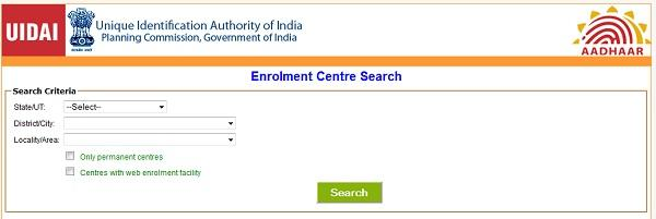 Locate Aadhar Card Enrolment Center