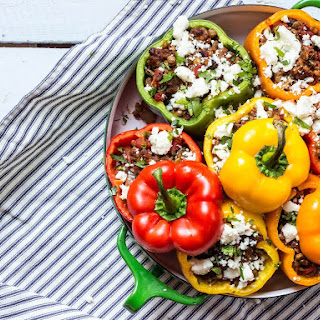 Stuffed Roasted Peppers with Lentils, Beef and Mushrooms.