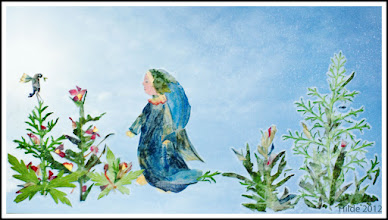 Photo: Mother collects flowers and then assembles these images together. Caption: Mary walked through the thorn forest