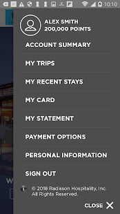 Radisson Rewards Screenshot