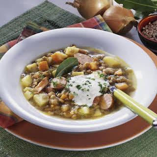 Potato, Lentil and Frankfurter Soup.
