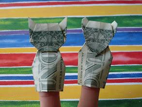 Photo: Model: Puppet Poetry;  Cat and Mouse finger puppets;  Creator: Robert E. Neale;  Folder: William Sattler;  1 dollar each;  Publication: Folding Money Fooling (Robert E. Neale)