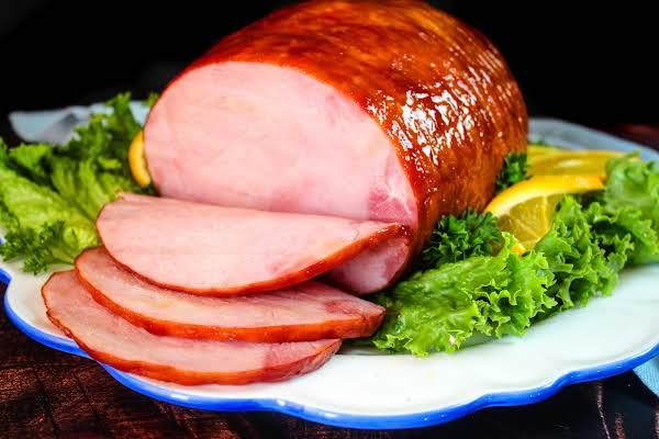 Ginger Ale Glazed Ham On A Platter.