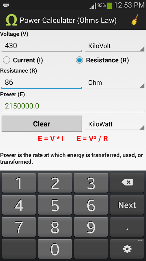 Ohms Law Calculator - screenshot