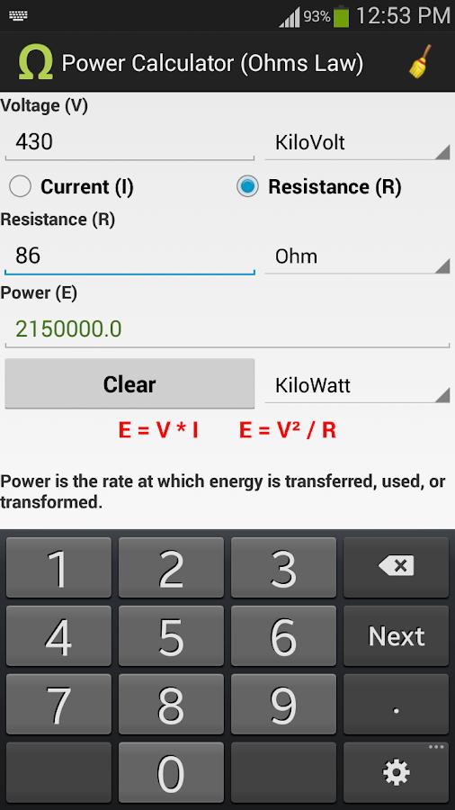 Ohms Law Calculator- screenshot