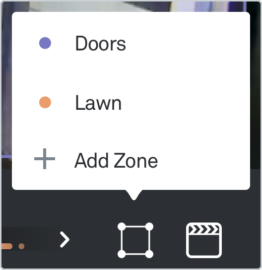 Select current zone or add a new zone screen