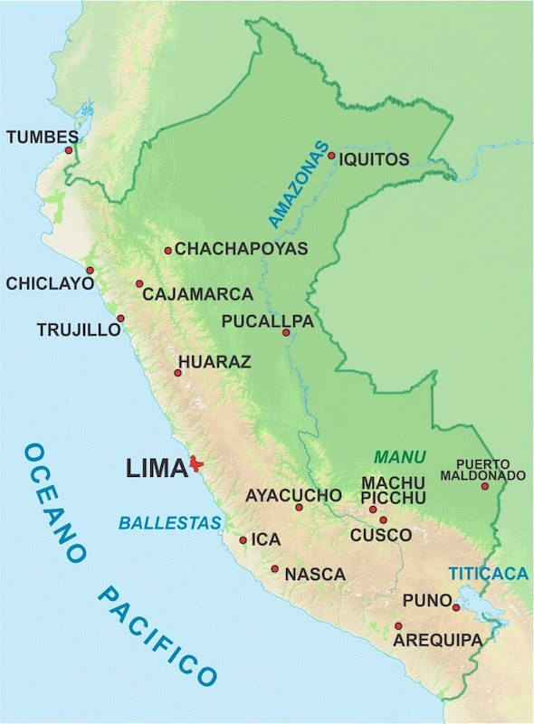 physical map of peru showing the vegetation climate geography and landscape of peru