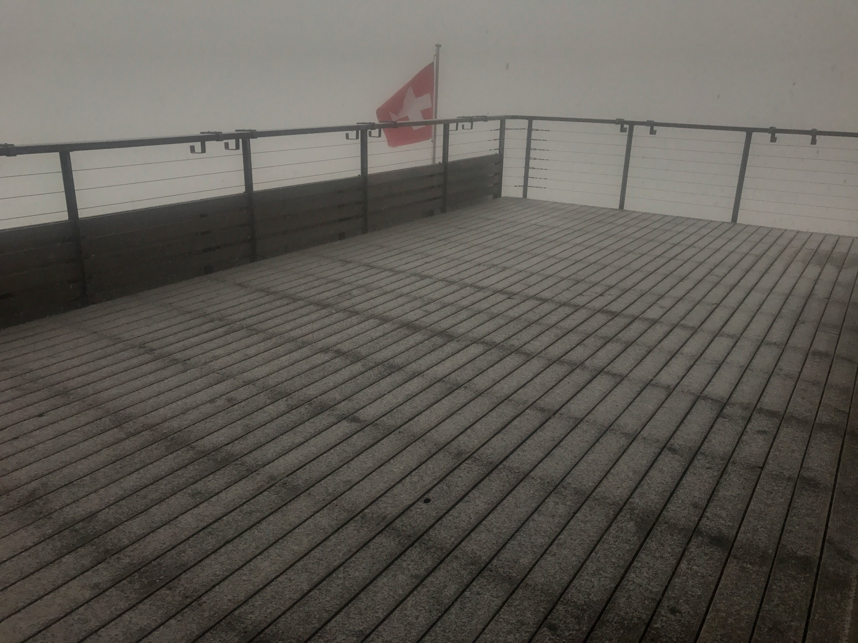 Snowfall on the Silvretta Hut deck