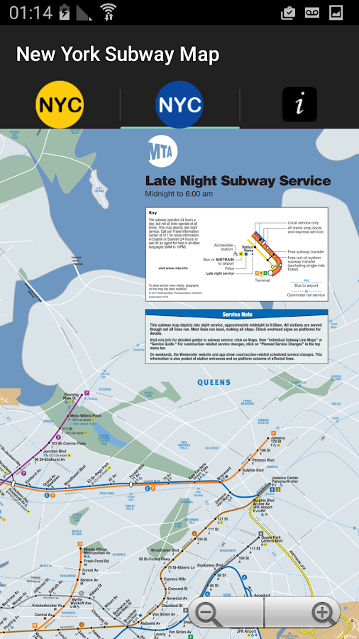 Late Night Weekend Subway Map Ny.New York Subway Map Nyc Metro Android Apps On Google Play