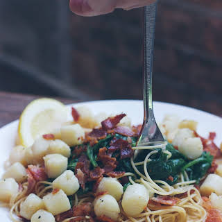 Scallop Bacon Spinach Pasta.