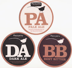 Photo: These are currently the brewery's three regular ales, with a seasonal which for the Summer was Dancing Dragonfly at 5.0%.