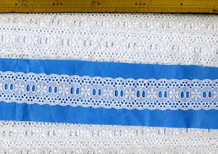 Photo: №580025-302オフ綿レースハシゴ:巾37mm