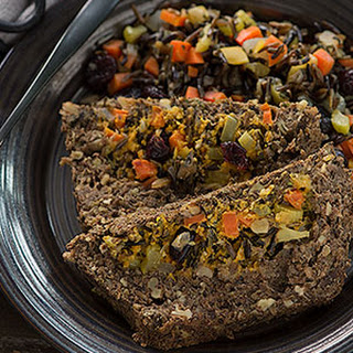 Sage Lentil Loaf with Wild Rice Cranberry Pumpkin Stuffing.