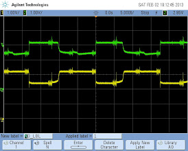 Photo: Oscilloscope measurement with refresh speed of 5kHz. Layer switching events are pretty visible.Yellow: base current, low means transistor is conducting Green: collector current
