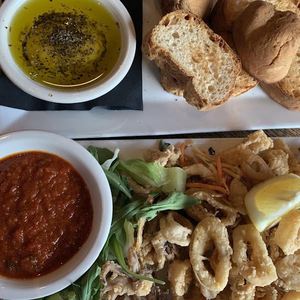GF Bread with Herbs & Oil  GF Calamari