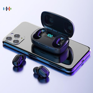 Casti Bluetooth TWS T10S, amprenta si dock magnetic cu display
