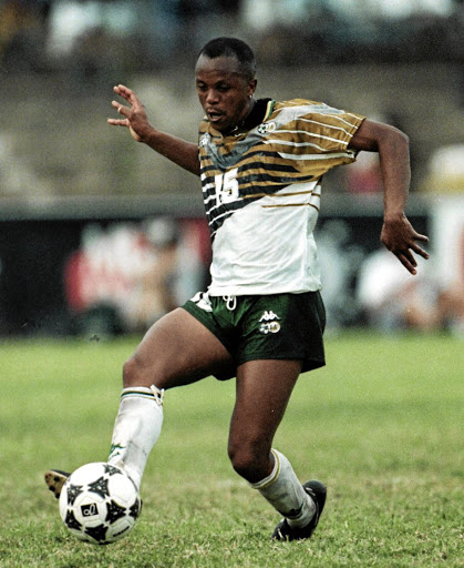 Former Bafana Bafana midfield maestro Doctor Khumalo in his heyday as a soccer player. / DUIF DU TOIT/Gallo Images