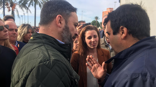 Santiago Abascal, en la manifestación de Almería