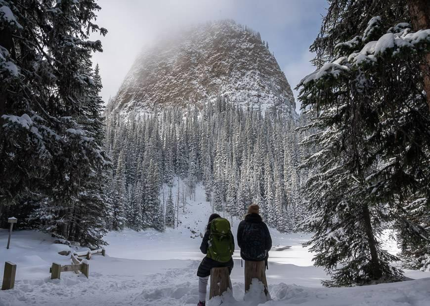 Enjoying a view of the Big Beehive from Mirror Lake