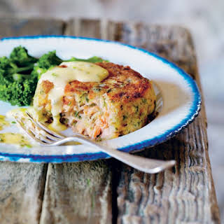 Deep-Trout Fish Cakes with Lemon Butter and Chive Sauce.