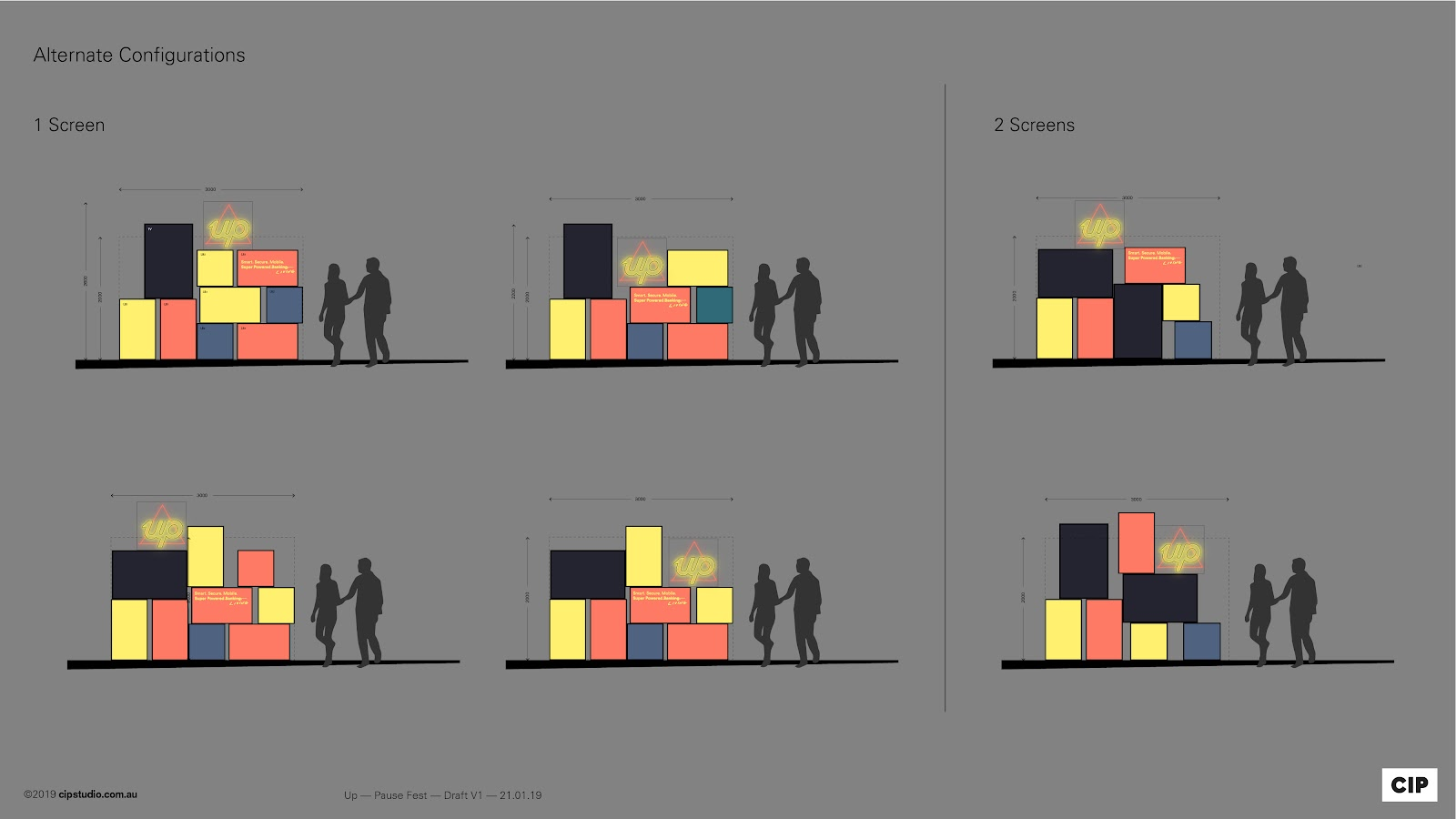 Concept sketches and vision of how the lightboxs can be configured in many ways