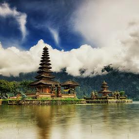 The Floating Temple by Agoes Antara - Travel Locations Landmarks ( bali. temple.ulun danu.bedugul. beratan lake )