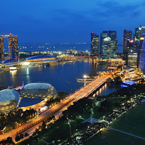 blue hour @singapore by Barry Rattu - Landscapes Travel
