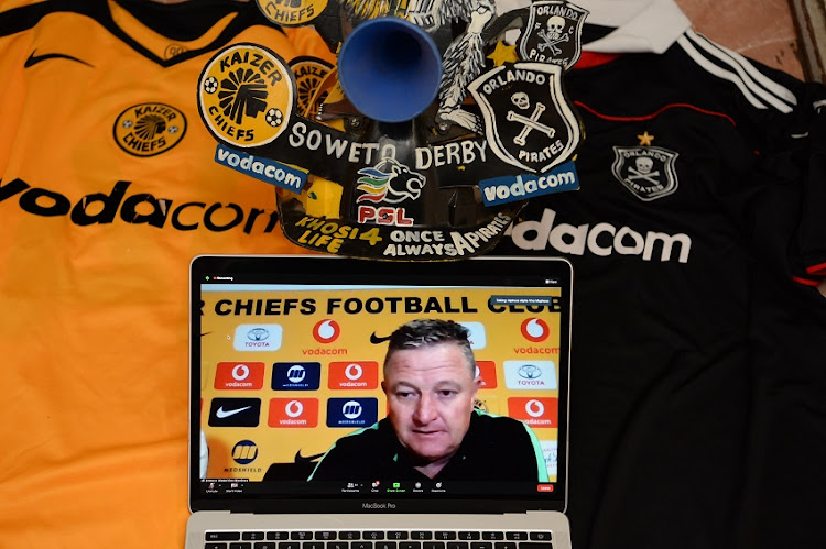 Kaizer Chiefs coach Gavin Hunt during the Post Match virtual press conference after the DStv Premiership match between Kaizer Chiefs and Orlando Pirates on March 21, 2021 in Johannesburg, South Africa.