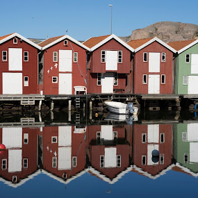 Morning in the small harbor by Mats Andersson - Buildings & Architecture Other Exteriors ( calm, morning light, reflections, sweden, harbor, reflections in water, smögen, small harbor, morning )