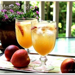 White Moscato And Peach Sangria.