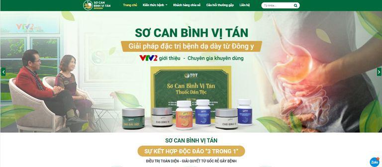 Giao diện Trang chủ website Sơ can Bình vị tán