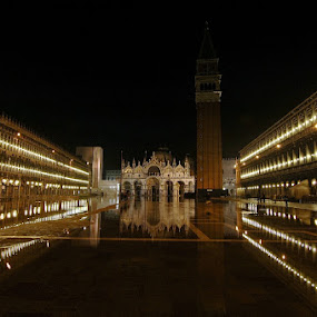 Piazza San Marco by Frans Scherpenisse - City,  Street & Park  Street Scenes ( water, venice, piazza, italy )