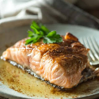 Pan-Seared Salmon with Lemon-White Wine Sauce.