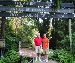 Photo: This is at the site where the Boy Scouts used to load barges to carry supplies to Marshall Island and Treasure Island. Harv and Chuck.