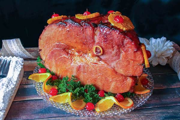 Festive Holiday Ham On A Platter.