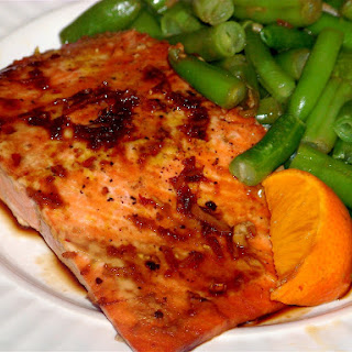 Sweet Soy and Brown Sugar Glazed Salmon with Sesame Green Beans.