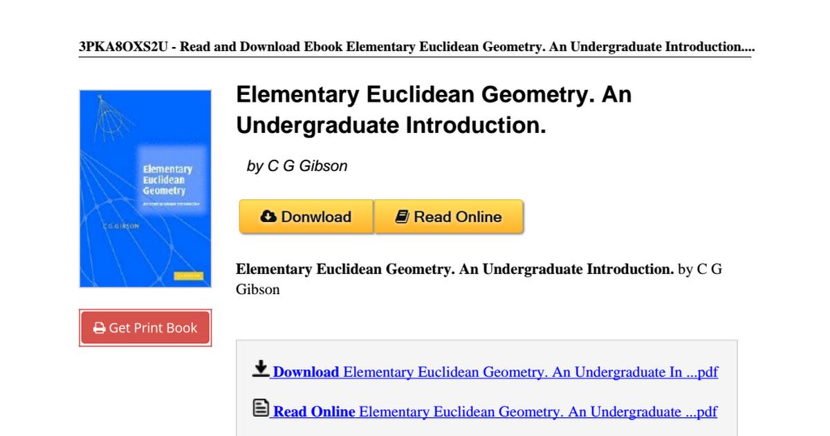 Elementary-Euclidean-Geometry-Undergraduate-Introduction-B007YZQUM6