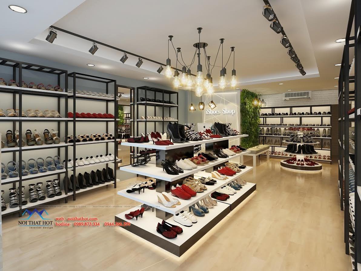 thiết kế shop giày dép sử dụng gỗ mdf và sắt