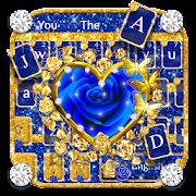 Luxury Golden Blue Roses keyboard