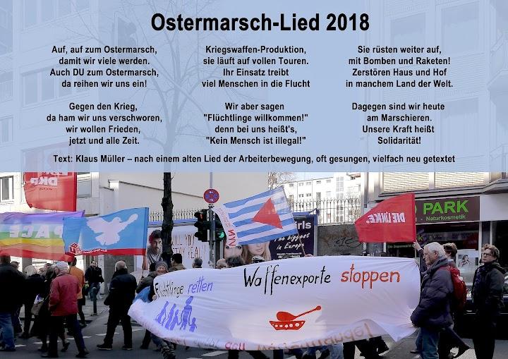 Ostermarschlied-Text und Bild von Ostermarschierenden.