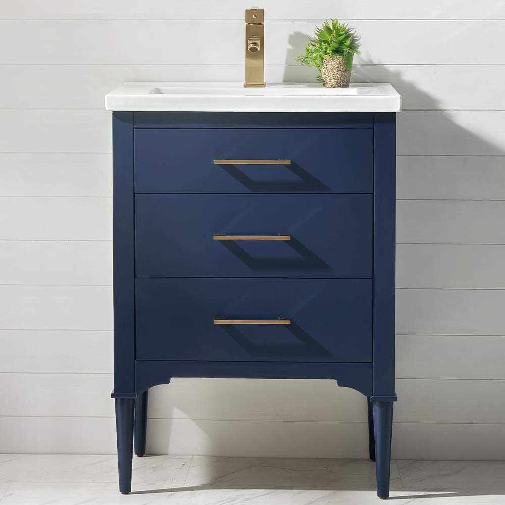midnight blue bathroom vanity porcelain top brass accents powder room perfect size