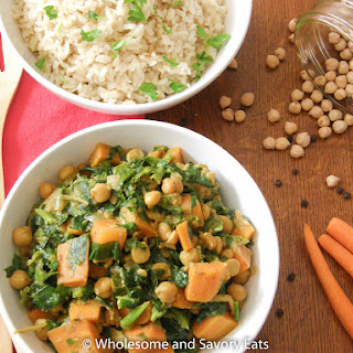 Curried Carrots, Chickpeas and Spinach with Jerra Rice.
