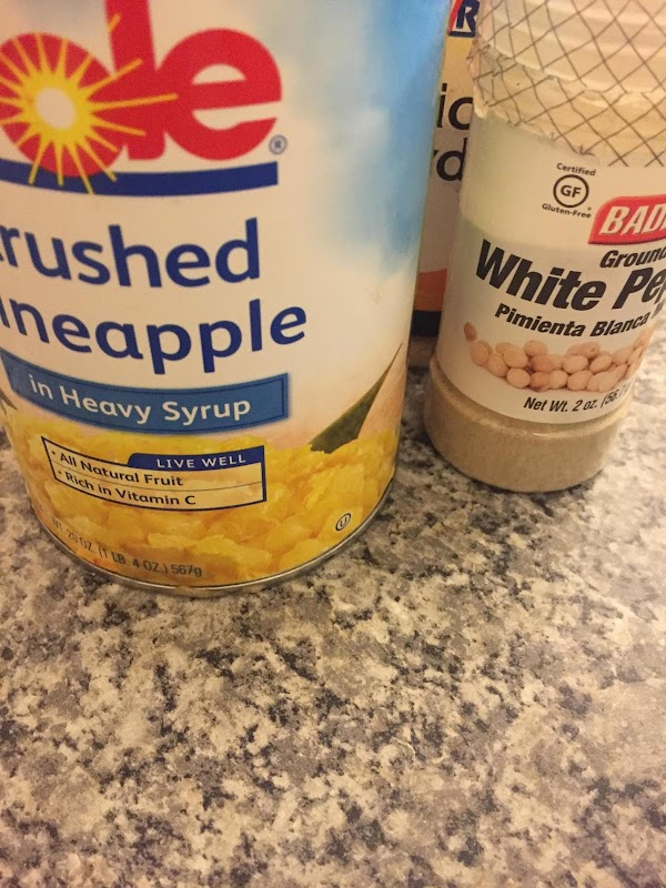Drain pineapple juice into a bowl. Reserve pineapple.  Mix all ingredients except pork...