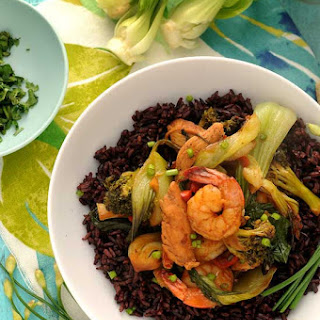 Chicken and Shrimp Stir-fry with Black RIce.