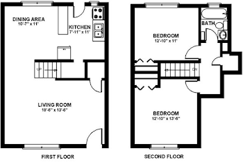 Go to Two Bedroom Townhouse Floorplan page.