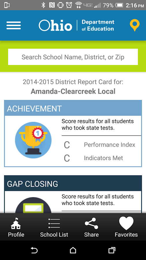 Ohio Department of Education- screenshot