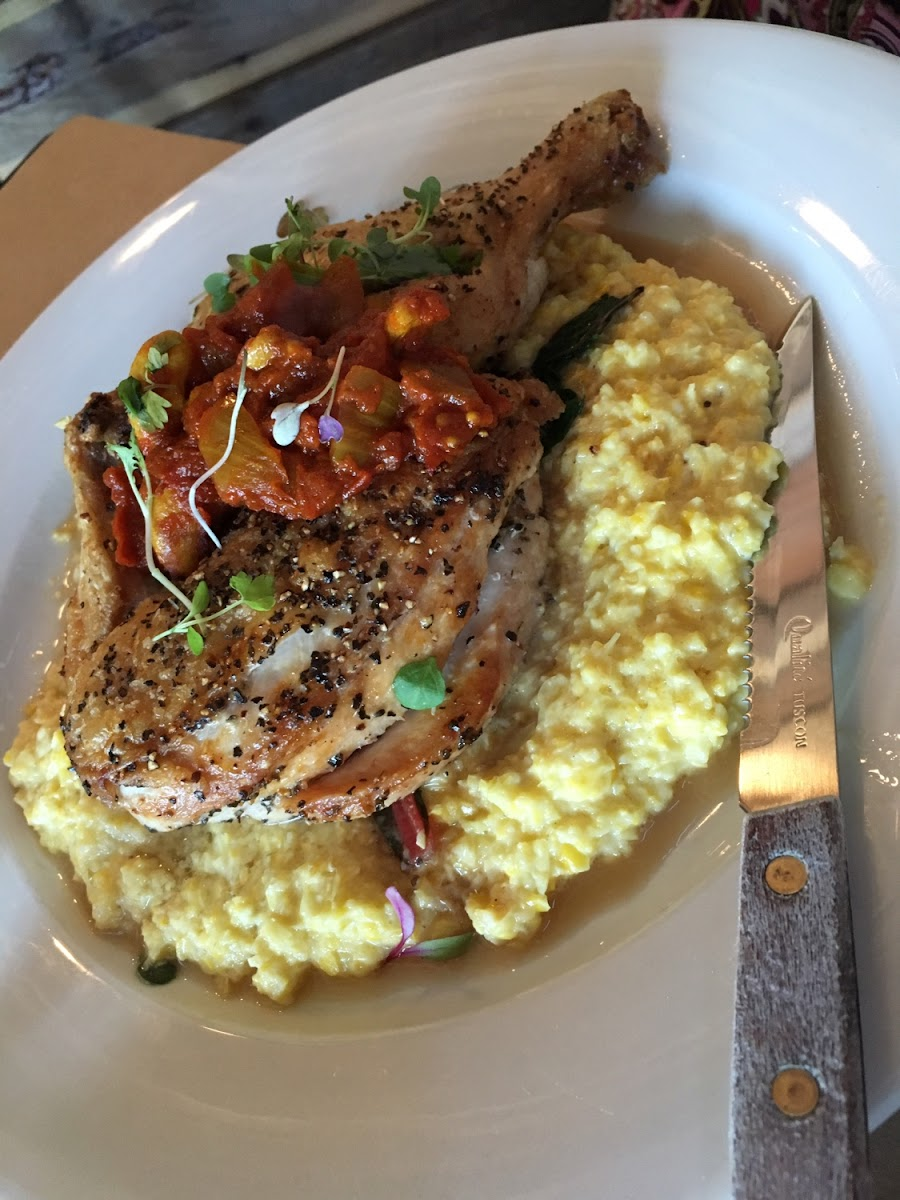 "Half a Chicken ""under a brick"" with creamed corn.  5/2017"