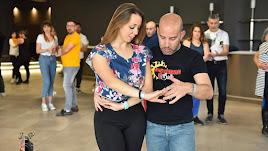 Los responsables del Levántate y Baile durante una clase antes del confinamiento.